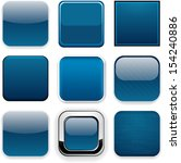 set of blank dark blue square... | Shutterstock .eps vector #154240886