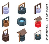 water well icons set. isometric ... | Shutterstock .eps vector #1542460595