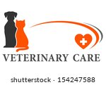Stock vector blue veterinary symbol with cross and pets 154247588