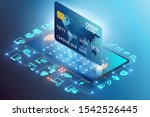 concept of mobile payment with... | Shutterstock . vector #1542526445