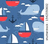 happy whales  sea anchors and... | Shutterstock .eps vector #1542550832