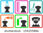 pet care icons with fashion... | Shutterstock .eps vector #154255886