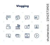 vlogging line icon set. set of... | Shutterstock .eps vector #1542573905