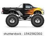 black monster truck with fire... | Shutterstock .eps vector #1542582302
