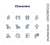 characters line icon set. old... | Shutterstock .eps vector #1542585212