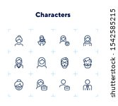 characters line icon set. face  ...   Shutterstock .eps vector #1542585215