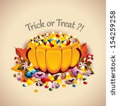 pumpkin basket full of candies  ... | Shutterstock .eps vector #154259258
