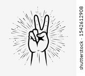 victory or peace sign. vector... | Shutterstock .eps vector #1542612908