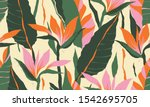 modern exotic jungle plants... | Shutterstock .eps vector #1542695705
