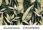 modern exotic jungle plants... | Shutterstock .eps vector #1542698582