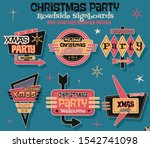 christmas party stickers...   Shutterstock .eps vector #1542741098