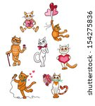 a collection of cute cats in... | Shutterstock .eps vector #154275836