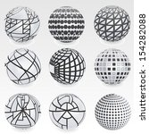 set of vector abstract globe  | Shutterstock .eps vector #154282088