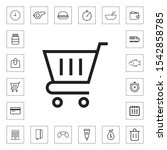 shopping cart outline icon for...