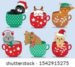 Cat Cups Merry Christmas Cute