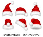 santa red hat. party fur... | Shutterstock .eps vector #1542927992