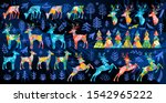 deer collection. night forest... | Shutterstock .eps vector #1542965222