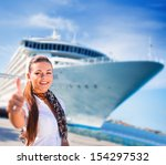 young woman ready to travel on... | Shutterstock . vector #154297532