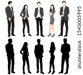 silhouettes of men and women... | Shutterstock .eps vector #1543005995