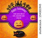happy halloween banner with... | Shutterstock .eps vector #154301945