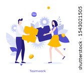 man and woman assembling jigsaw ... | Shutterstock .eps vector #1543021505