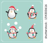 set of cute penguins. vector... | Shutterstock .eps vector #154303616