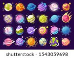 Vector Set Of Cartoon Planets....