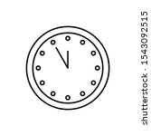 winter clock icon. simple line  ...