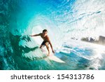 surfer on blue ocean wave in... | Shutterstock . vector #154313786