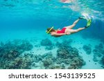 Young Happy Girl In Snorkeling...