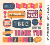 a set of retro style 'thank you'... | Shutterstock .eps vector #154316378