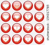 heart icon set with glass... | Shutterstock . vector #154317785
