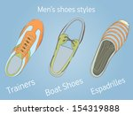 vintage trainer  boat shoe and... | Shutterstock .eps vector #154319888