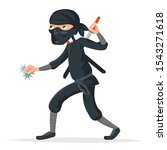 Japan secret ninja assassin japanese sword character cartoon stealthy sneaking vector illustration