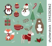 cute animal christmas day.... | Shutterstock .eps vector #1543282862
