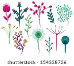 set of flowers design on white... | Shutterstock .eps vector #154328726