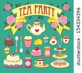 cute tea party set | Shutterstock .eps vector #154334396