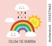 poster with cute rainbow cloud...   Shutterstock .eps vector #1543374662