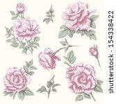 flower set. vintage rose... | Shutterstock .eps vector #154338422