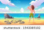 castaway man on uninhabited... | Shutterstock .eps vector #1543385102