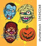 halloween monster head vector... | Shutterstock .eps vector #154342268