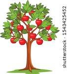 cartoon apple tree isolated on... | Shutterstock .eps vector #1543425452