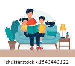 dad reading for kids. family... | Shutterstock . vector #1543443122