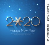 happy new year 2020 blue... | Shutterstock .eps vector #1543485968