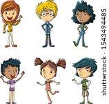 group of cute cartoon children. ...   Shutterstock .eps vector #1543494485