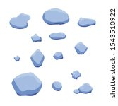 vector blue ice stones isolated ...