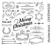 set of christmas ornamental... | Shutterstock .eps vector #1543544105
