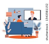 man sitting alone at home on... | Shutterstock .eps vector #1543581152