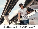 handsome young man in casual... | Shutterstock . vector #1543617692