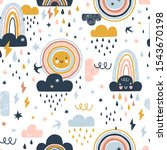 seamless cute pattern with hand ... | Shutterstock .eps vector #1543670198